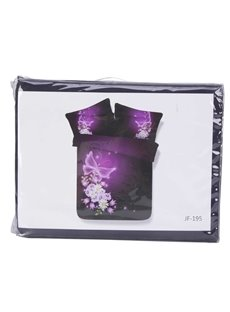 Noble Purple Butterfly Print 4-Piece Tencel Duvet Cover Sets