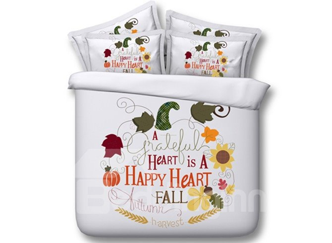 Adorable Letters and Leaves Print 4-Piece Tencel Duvet Cover Sets