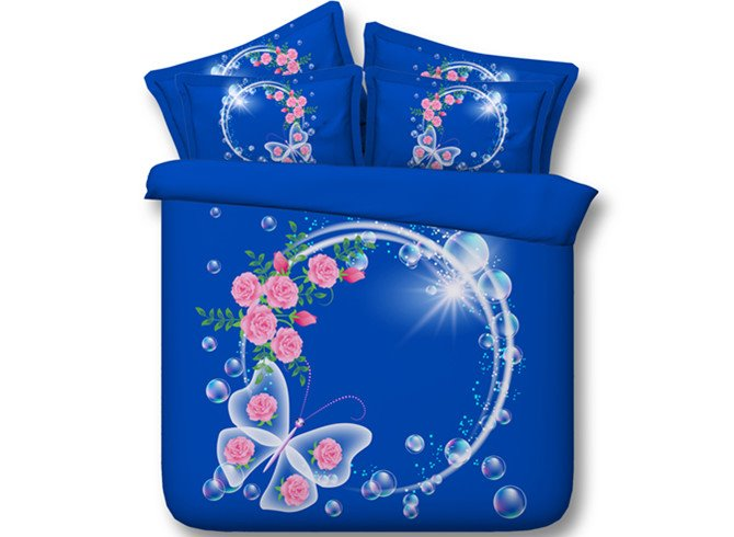 Fancy Garland and Butterfly Print 4-Piece Tencel Duvet Cover Sets