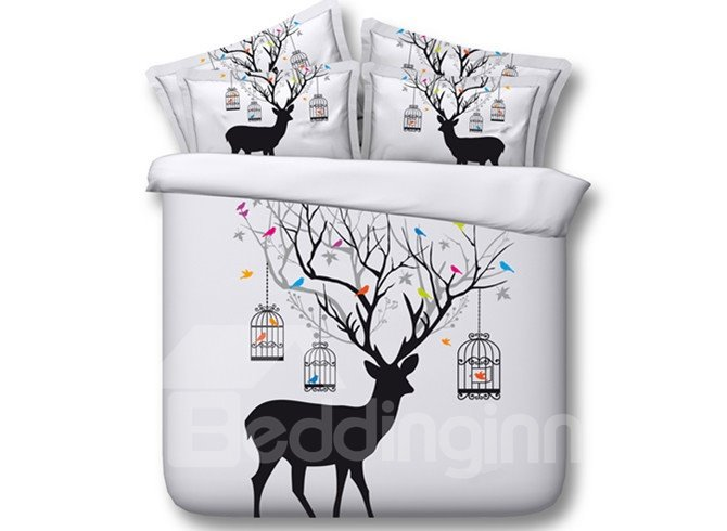 Popular Deer and Birdcage Print 5-Piece Comforter Sets