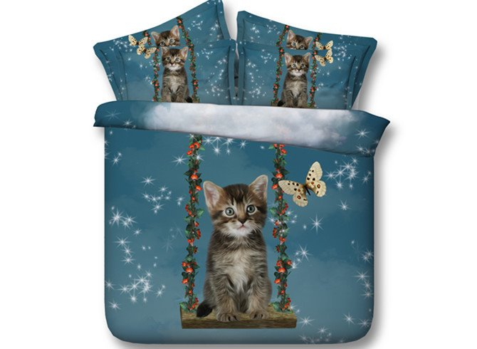 Dreamy Cat and Butterfly Print 5-Piece Comforter Sets