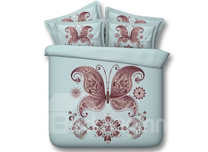 Chic Purple Butterfly Print 5-Piece Comforter Sets