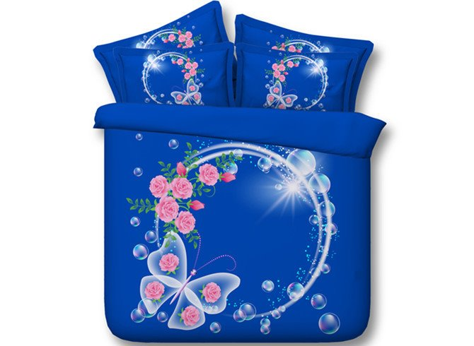 Sky Blue Garland and Butterfly Print 5-Piece Comforter Sets