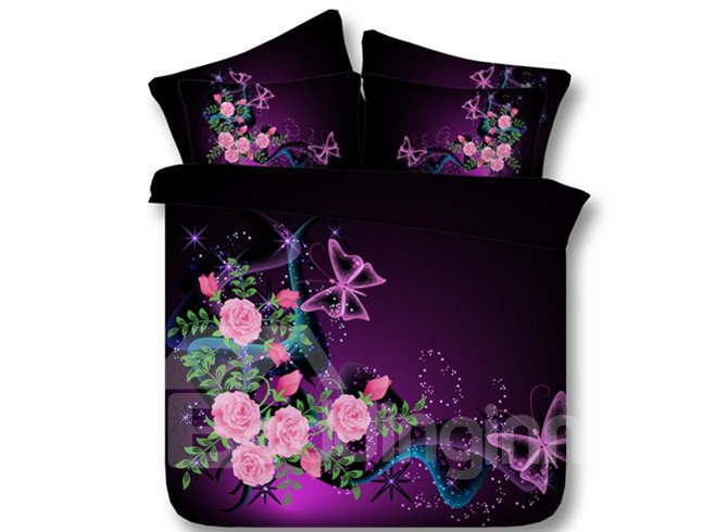 Beautiful butterflies and pink rose print purple 5 piece - Purple and pink comforter sets ...