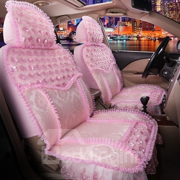 Princess Elegant Lace Floral With Beautiful Petal Style Univeral Car Seat Cover