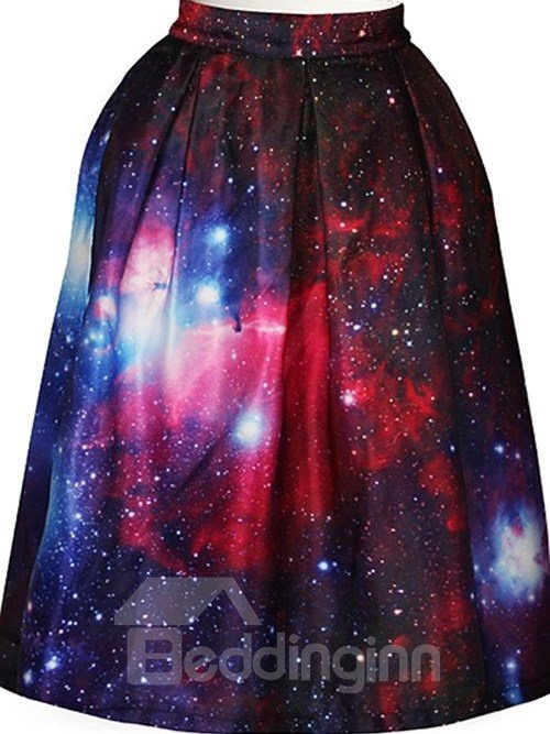 Pretty Starry Sky Pattern 3D Painted Midi Skirt
