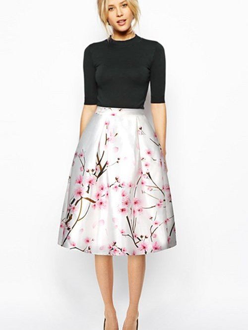 Elegant Peach Blossom Pattern White Background 3D Painted Midi Skirt