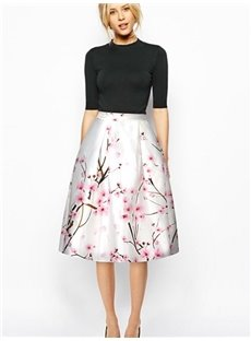 Elegant Peach Blossom Pattern White Background 3D Painted Midi Skirt