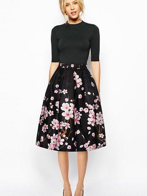 Stunning Peach Blossom Pattern Black Background 3D Painted Midi Skirt
