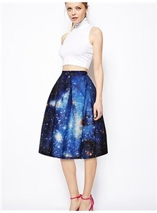 Sparking Starry Sky Pattern 3D Painted Midi Skirt