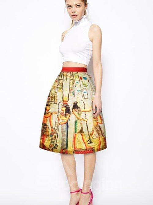 Vintage Ancient Egyptians Pattern 3D Painted Midi Skirt