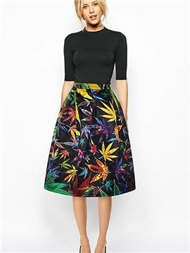 Stunning Maple Leaves Pattern Black Background 3D Midi Skirt