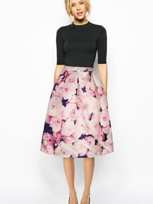 Lovely Pink Roses Pattern 3D Painted Midi Skirt