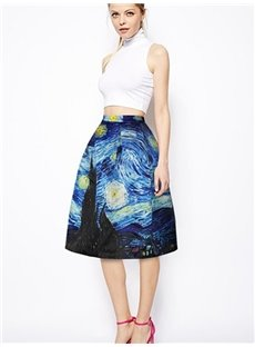 Fantastic Starry Night of Van Gogh Pattern 3D Painted Midi Skirt