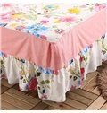 Romantic Red Peony Print Cotton Bed Skirt