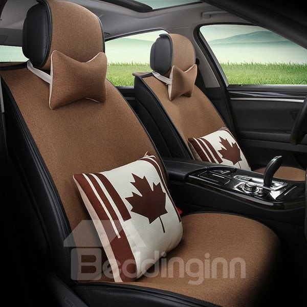 Simple Solid Design With Special Creative Pillow Universal Car Seat Cover