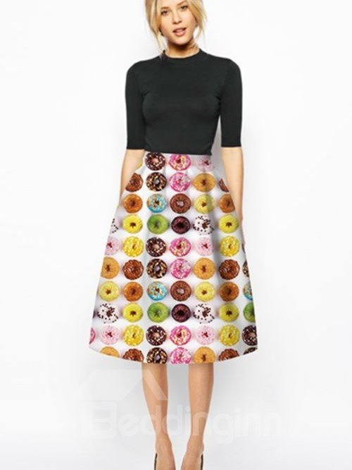 Attractive Kinds of Doughnuts Pattern White Background 3D Painted Midi Skirt