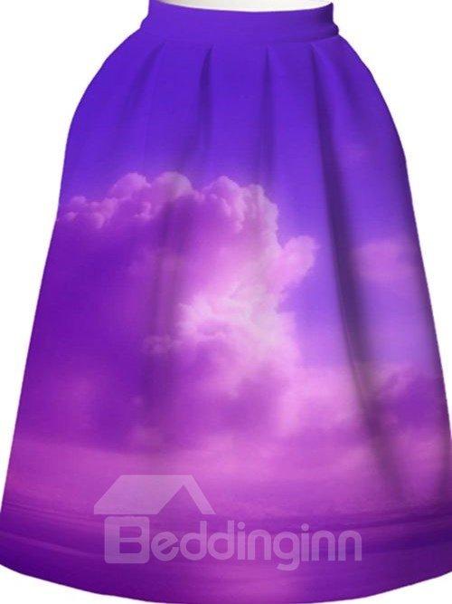 Romantic Purple Cloud Pattern 3D Painted Midi Skirt