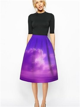 Romantic Purple Cloud Pattern 3D Painted Midi Skirt