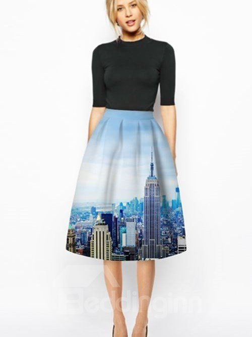 Gorgeous High Buildings Pattern Sky Background 3D Painted Midi Skirt