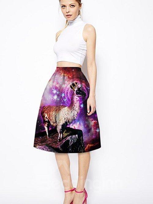 Modest Sheep Wear Crown Pattern 3D Painted Midi Skirt