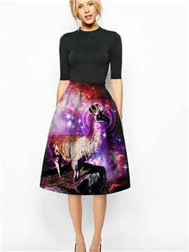 Modest Sheep Wear Crown Pattern 3D Painted Midi Skirt