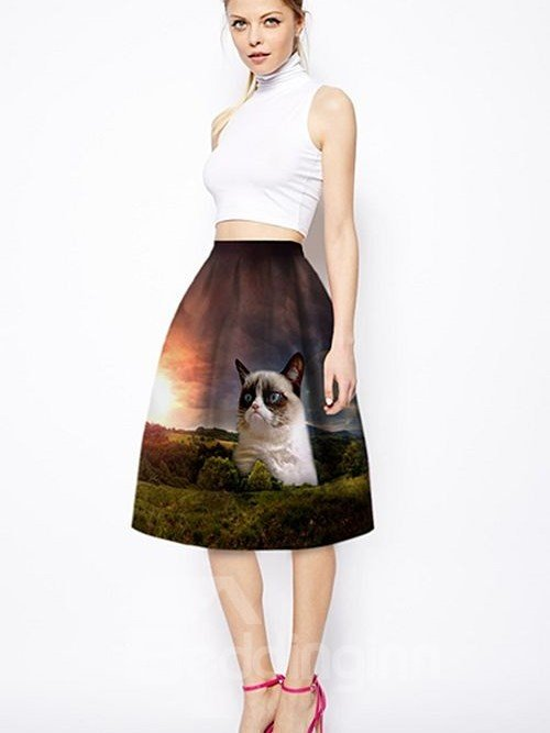 Cute Cat Lie in Forest Pattern 3D Painted Midi Skirt