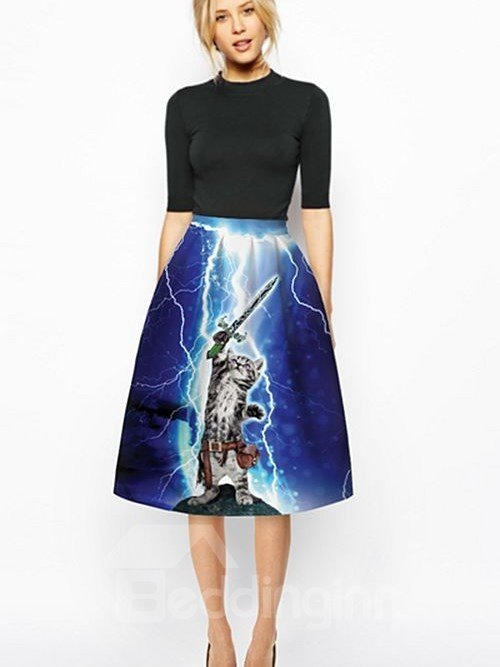 Pretty Cat Wave Sword Pattern Dark Blue Background 3D Painted Midi Skirt