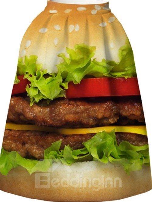 Attractive Hamburger Pattern 3D Painted Midi Skirt