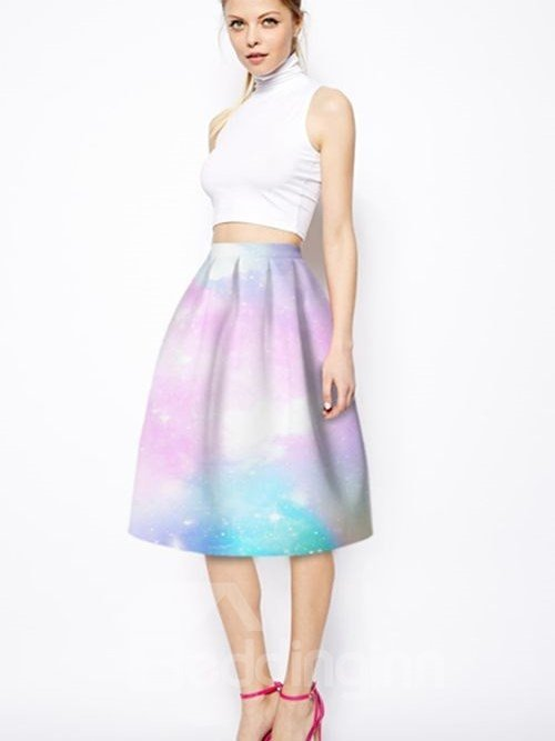 Bright Pink Starry Sky Pattern 3D Painted Midi Skirt