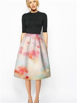 Amazing Pink Cloud Pattern 3D Painted Midi Skirt