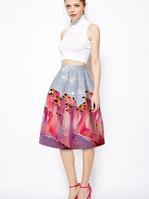 Fantastic Phoenicopteridae Pattern 3D Painted Midi Skirt