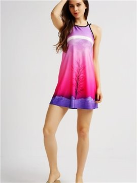 Fantastic Loose Casual Back Crisscross Tree Pattern Fushia Background 3D Painted Swing Dress