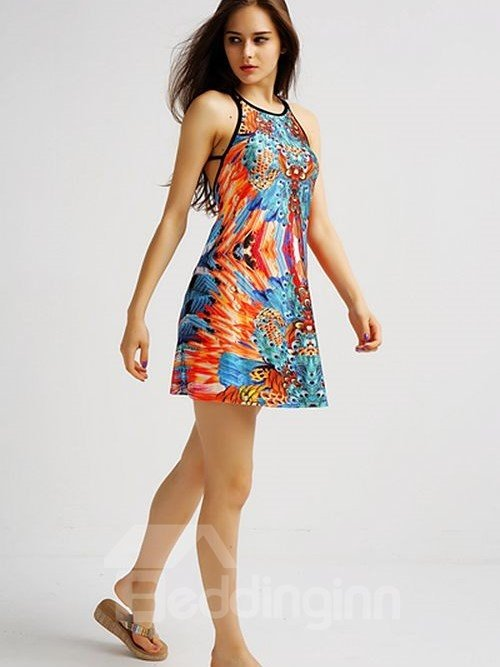 Glamorous Loose Casual Back Crisscross Colorful Feather Pattern 3D Painted Swing Dress