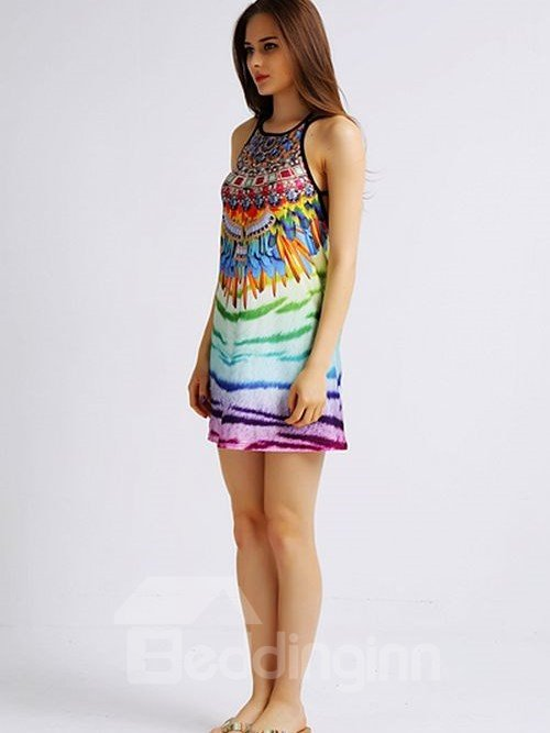 Fashionable Loose Casual Back Crisscross Multicolor Pattern 3D Painted Swing Dress