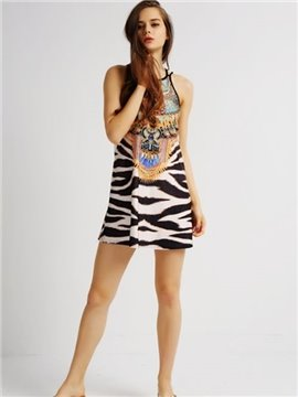 Popular Loose Casual Back Crisscross Zebra Stripe Pattern 3D Painted Swing Dress