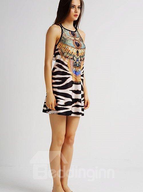 Popular Loose Casual Back Crisscross Zebra Stripe Pattern 3D Painted Swing Dress