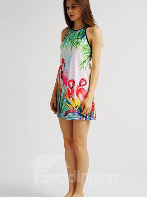 Super Loose Casual Back Crisscross Flamingo Pattern 3D Painted Swing Dress