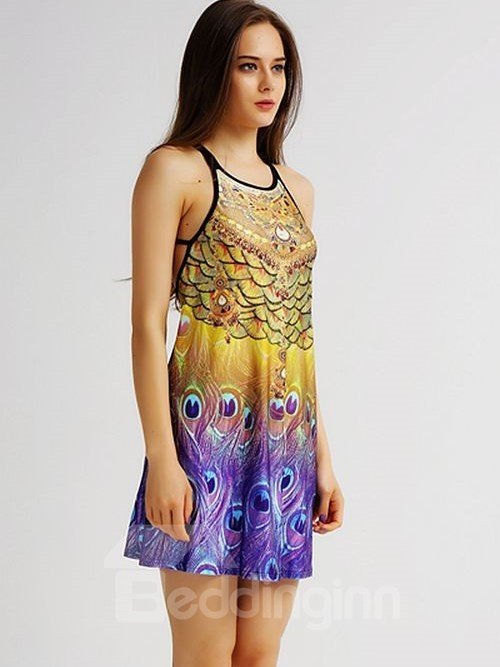Modest Loose Casual Back Crisscross Purple Peacock Tail Pattern 3D Painted Swing Dress