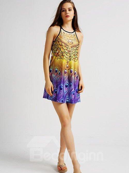 Modest Loose Casual Back Crisscross Purple Peacock Tail Pattern 3D Painted Swing Dress