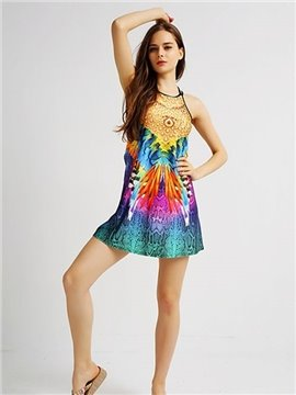 Attractive Loose Casual Back Crisscross Multicolor Pattern 3D Painted Swing Dress