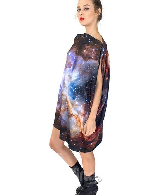 Graceful Loose Casual Galaxy Pattern 3D Painted Shift Dress
