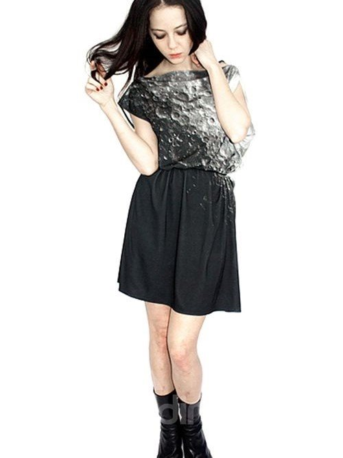 Concise Loose Casual Surface of Moon Pattern 3D Painted Shift Dress