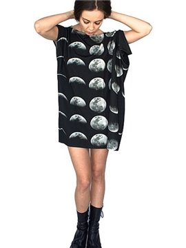 Unique Loose Casual Change Moon Pattern 3D Painted Shift Dress
