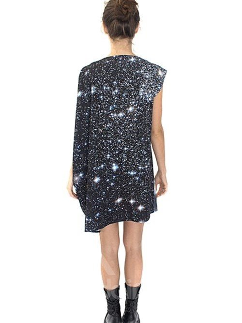 Shining Loose Casual Starry Sky Pattern 3D Painted Shift Dress