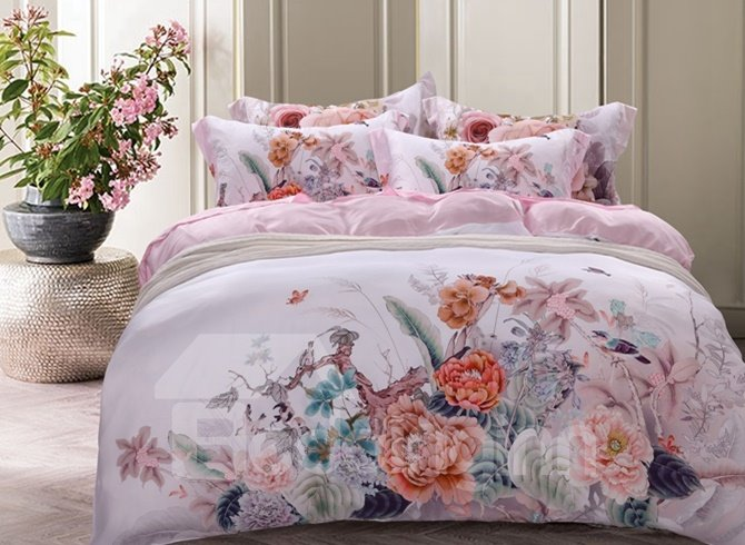 Villatic Peony Print 4-Piece Tencel Duvet Cover Sets