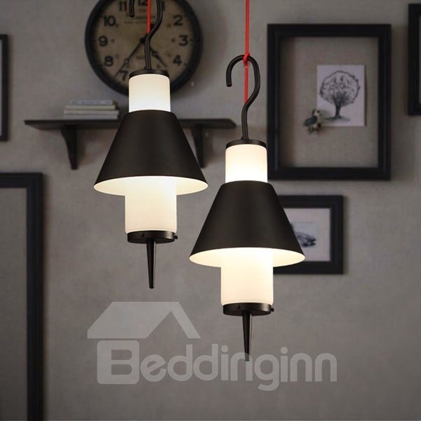 Black Iron Frame Hook Shape Decorative Pendant Light