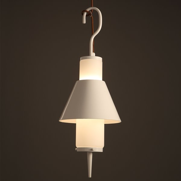 White Iron Frame Hook Shape Decorative Pendant Light