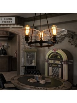 Amazing Iron Framed Round Disk 3 Bulbs Pendant Lights