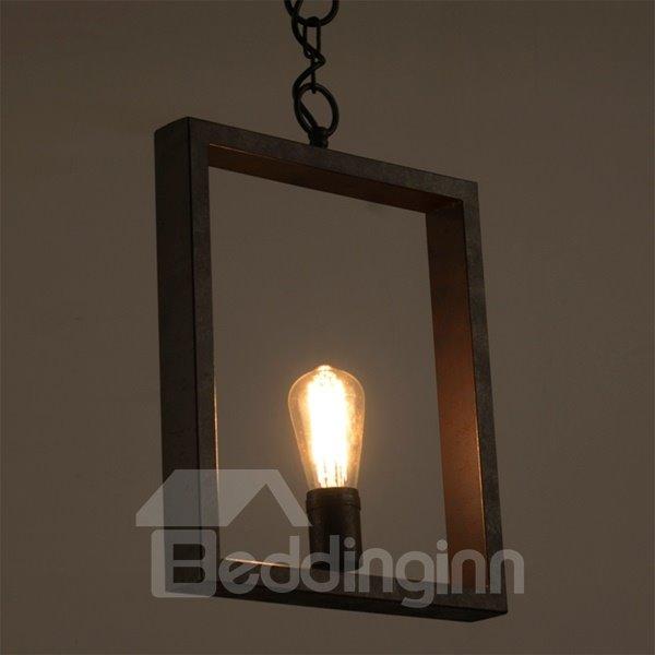 Classic Iron Framed Square Shape Decorative Chain Pendant Light